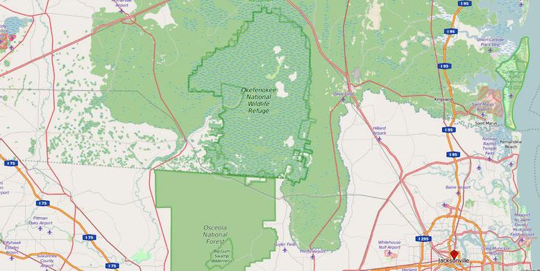 Das Okefenokee Swamp liegt nordwestlich von Jacksonville und unmittelbar hinter der Staatsgrenze von Florida im Bundesstaat Georgia (Quelle: openstreetmap, Lizenz CC-BY-SA 2.0).