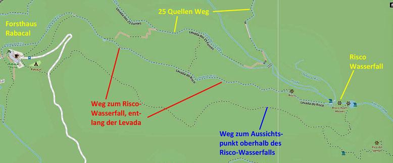 Wanderwege im Umfeld der 25 Quellen Wanderung (Quelle: openstreetmap Lizenz CC-BY-SA 2.0).