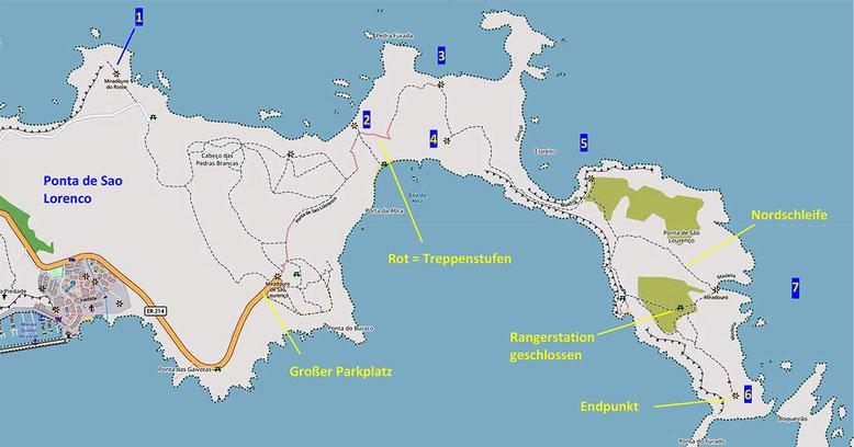 Kärtchen zur Wanderung auf der östlichen Landspitze Madeiras, der Ponta de Sao Lorenco.