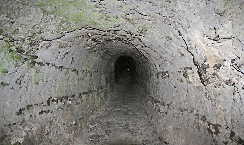 Tunnel 1 (vgl. nachfolgendes Kärtchen): Gut zu erkennen die Feuersteinlagen. Tunnel und nachgelagerter Felsbogen sind nur bei Ebbe trockenen Fußes zu erreichen.