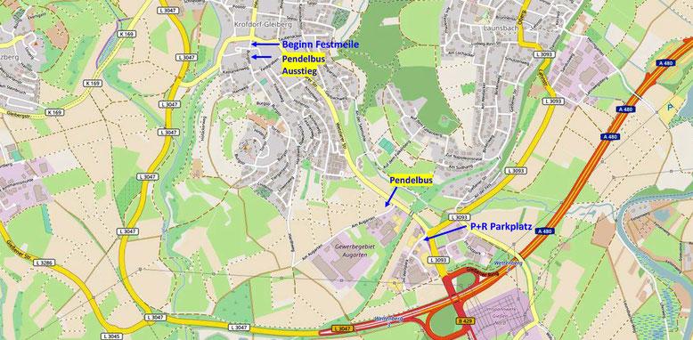 Übersichtskarte Anfahrt (Quelle: openstreetmap, Lizenz CC-BY-SA 2.0).