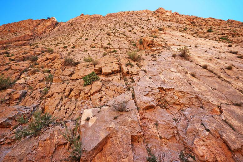 Ungesicherte Steilwand unmittelbar neben der Straße am km 26,5. Da kann einem Angst und Bange werden (vgl. auch Kärtchen Dades-Tal 1).