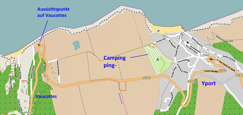 Unser schöner Campingplatz oberhalb Yport mit besten Aussichten (Quelle: openstreetmap, Lizenz CC-BY-SA 2.0).