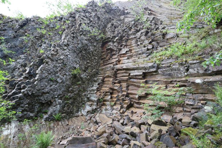 Horizontal orientierte Basaltsäulenwand auf der Westseite des ehemaligen Steinbruchs.