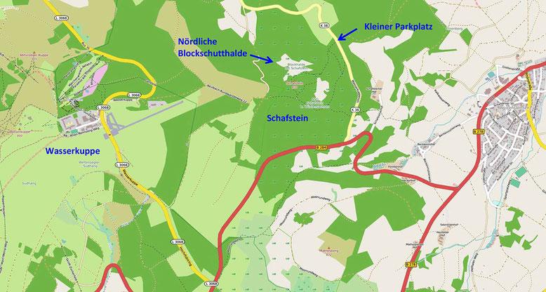 Kärtchen Anfahrt Schafstein, östlich der Wasserkuppe (Quelle: openstreetmap, Lizenz CC-BY-SA 2.0).