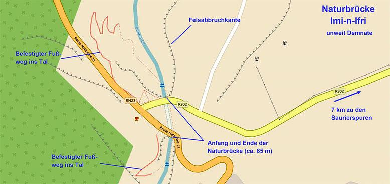 Naturbrücke  Imi n Ifri, unweit der Stadt Demnate (Quelle: openstreetmap Lizenz CC-BY-SA 2.0).