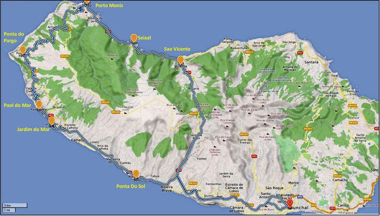 Mit dem Mietwagen in den Westen Madeiras ((Quelle: openstreetmap, Lizenz CC-BY-SA 2.0).