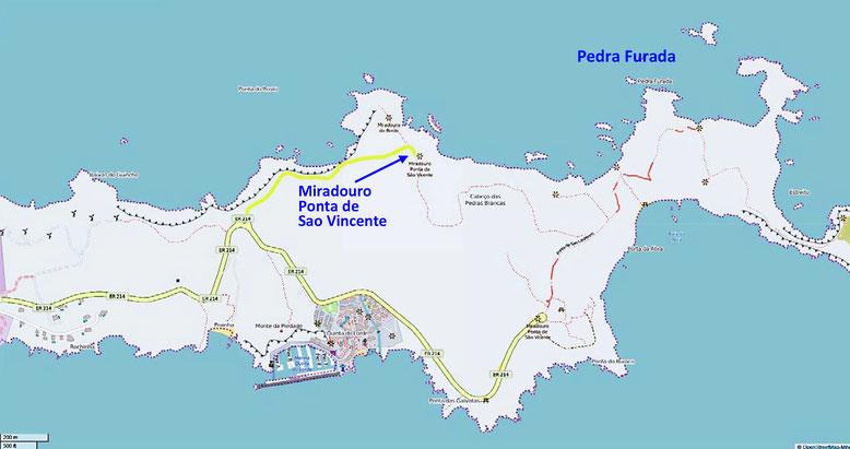 Halbinsel Ponta de São Lourenço im Osten Madeiras (Quelle: openstreetmap, Lizenz CC-BY-SA 2.0).