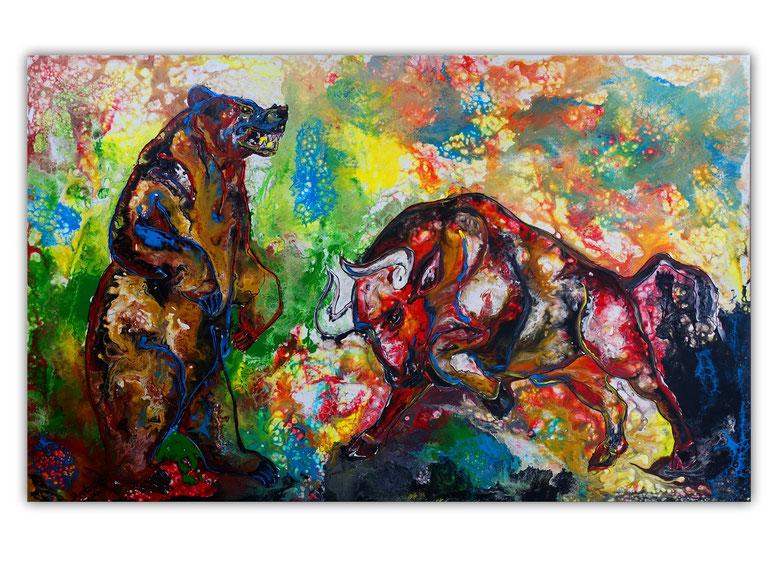 Bulle und Bär Börse XXL Wandbild Acrylbild Unikat Moderne Malerei 160x100 cm