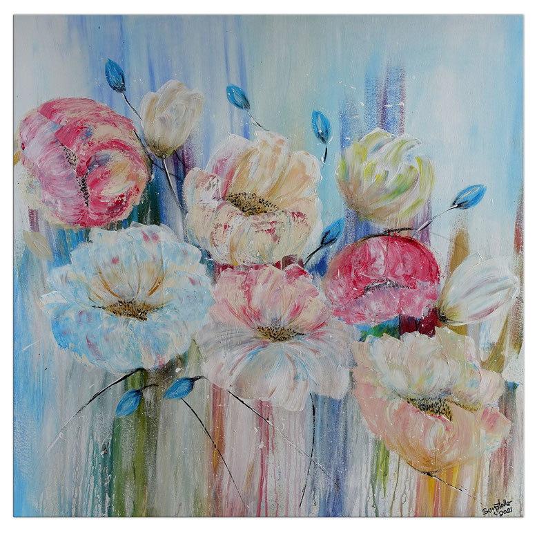 Pastellblumen BLüten Bild Wandbild handgemalt Blumen Malerei Acrylbild Gemälde