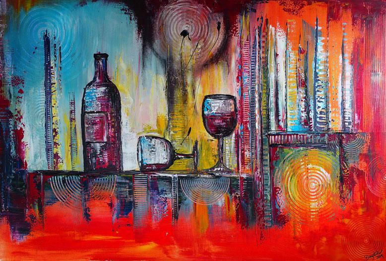 Weinflasche Weingläser abstrakt gemalt 80x120