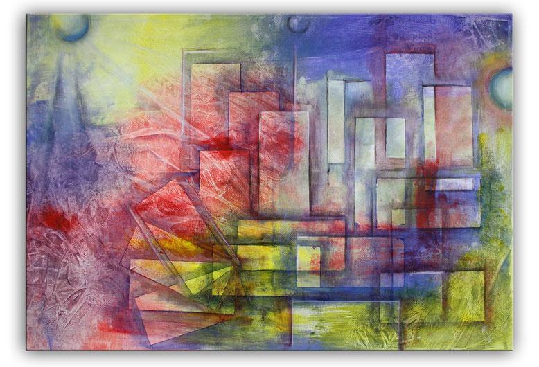 Planeten Stadt lila rot gelb bunt abstraktes Wandbild XXL Acrylbild handgemalt