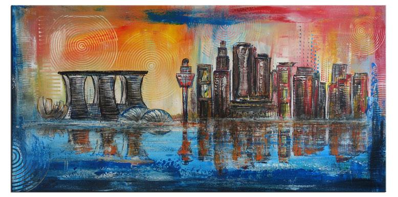 Singapur - Skyline Städtebild Gemälde Malerei - Acrylbilder vom Künstler