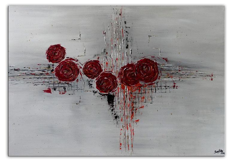 Rosen mit Struktur handgemaltes Blumen Bild Gemälde Unikat Wandbild Kunst