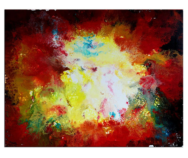 Wassergold abstraktes Wandbild blau gold Leinwandbild Malerei Kunst 90x90