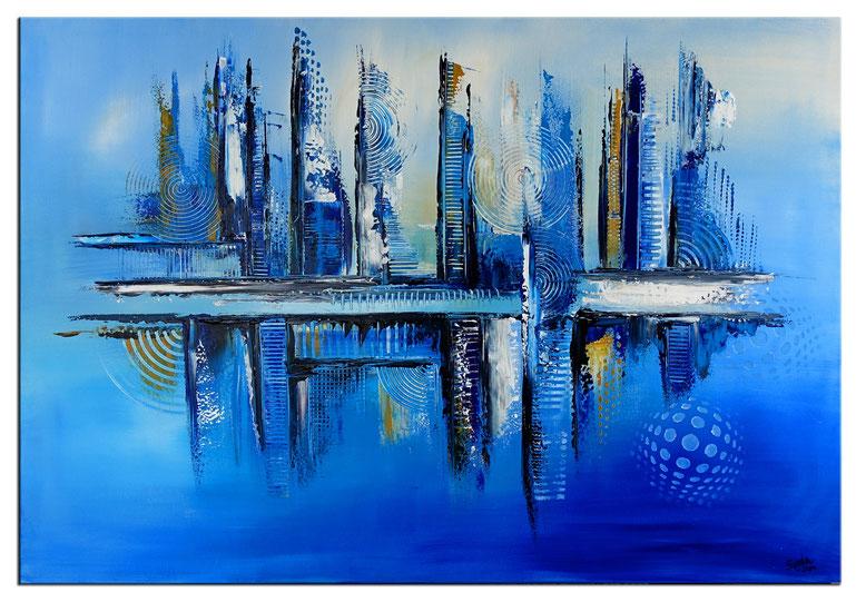 Korallen 2 abstrakte Malerei 120x80cm blau gelb Kunst Bild Original GEmälde