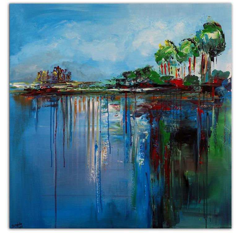 Am Steg See Bilder Modernes Acrylbild Acrylgemälde Malerei Original handgemalt