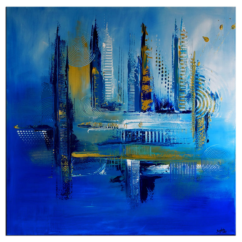 Eisblau 80x80 wandbild abstrakt kunstwerk unikat blau malerei kunst