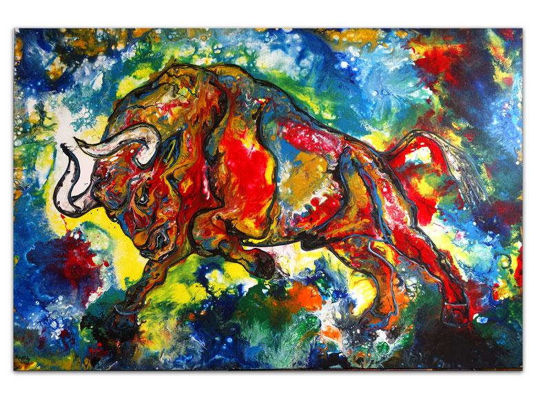 Torro 5 Wandbild Stier Bulle rot Acrylbild Original Gemälde Malerei 150x100x4