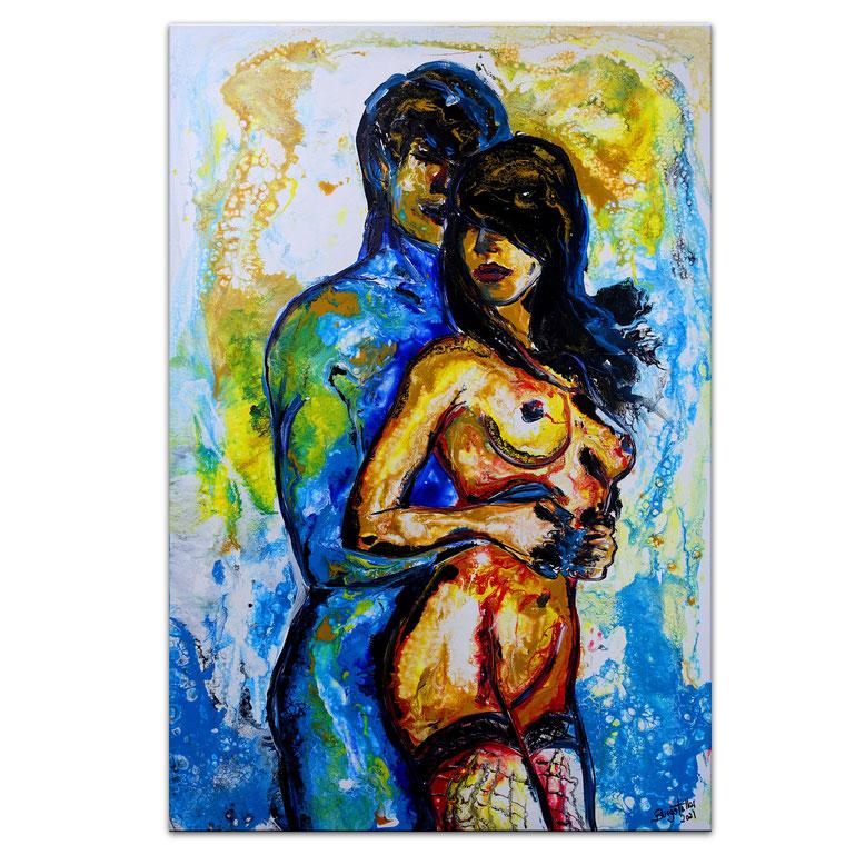 Liebesspiel grün 70x100 Mann Frau gemalt Fluid Art Acrylbild Gemälde Malerei Moderne Kunst (2)