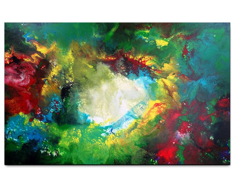 Im Fegefeuer abstrakte Kunst 81x116 rot gelb Malerei Leinwandbild Original