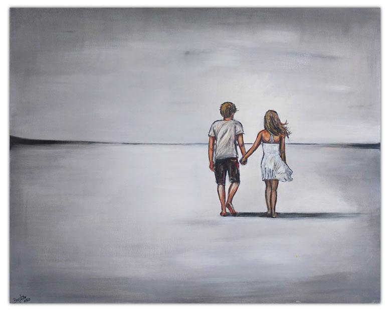 Mann Frau am Strand Malerei Liebespaar Gemälde Acrylbild Leinwandbild handgemalt