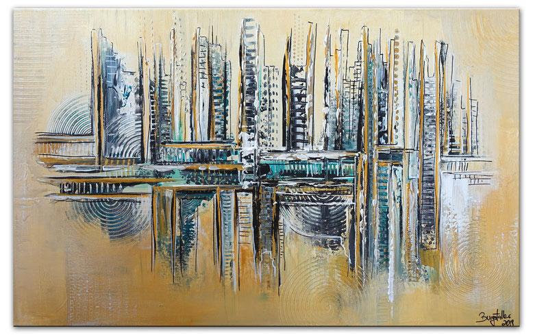 Installation abstrakte Malerei Kunst Bild gelb grau Acrylgemälde 60x80