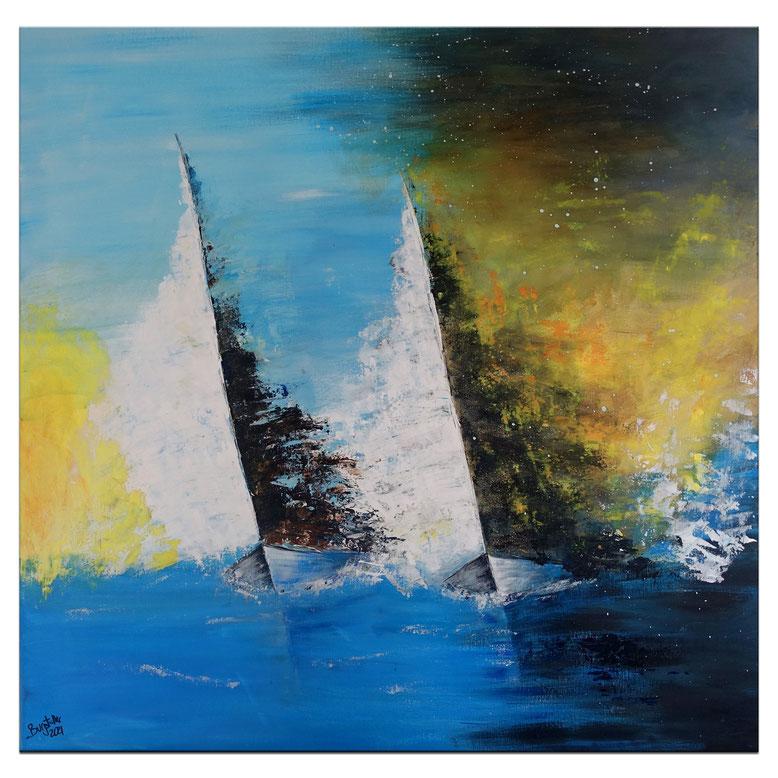 Segelboote im Sturm abstrakt - Moderne Malerei, Maritimes Gemälde 100x70