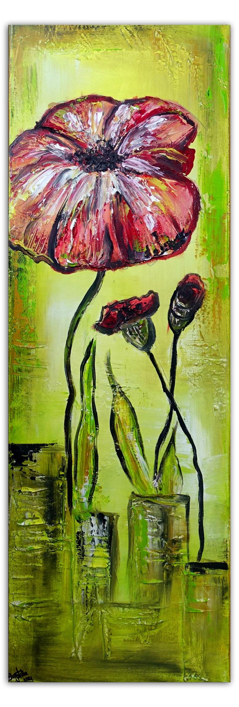 Winter Tulpen Blumenbild Wandbild Blumen Malerei Original Acryl Gemälde