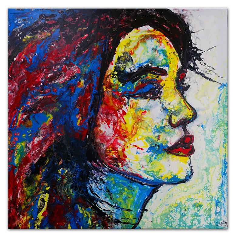 Wo bist Du Wandbild Porträt Frau abstrakt gemalt Fluid Art Moderne Kunst 100x100