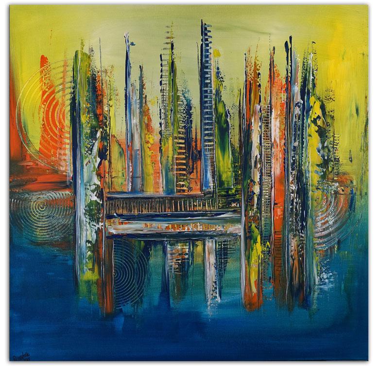 Blaeu Skyline abstrakte Malerei Wandbild abstrakt Acrylbild handgemalt
