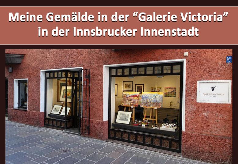 Handgemalte abstrakte Stadtbilder von Innsbruck in der Galerie Victoria