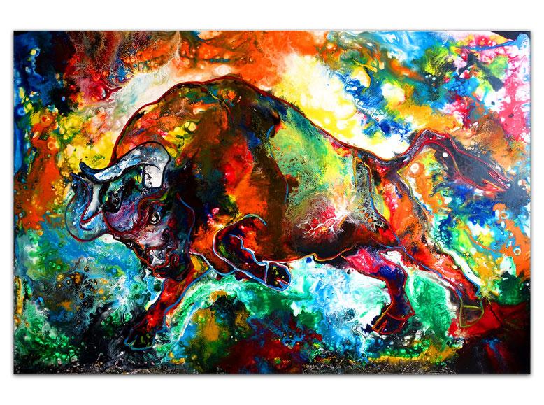 Wilder Stier abstrakt Torro Bulle Wandbilder moderne Tier Malerei Gemälde