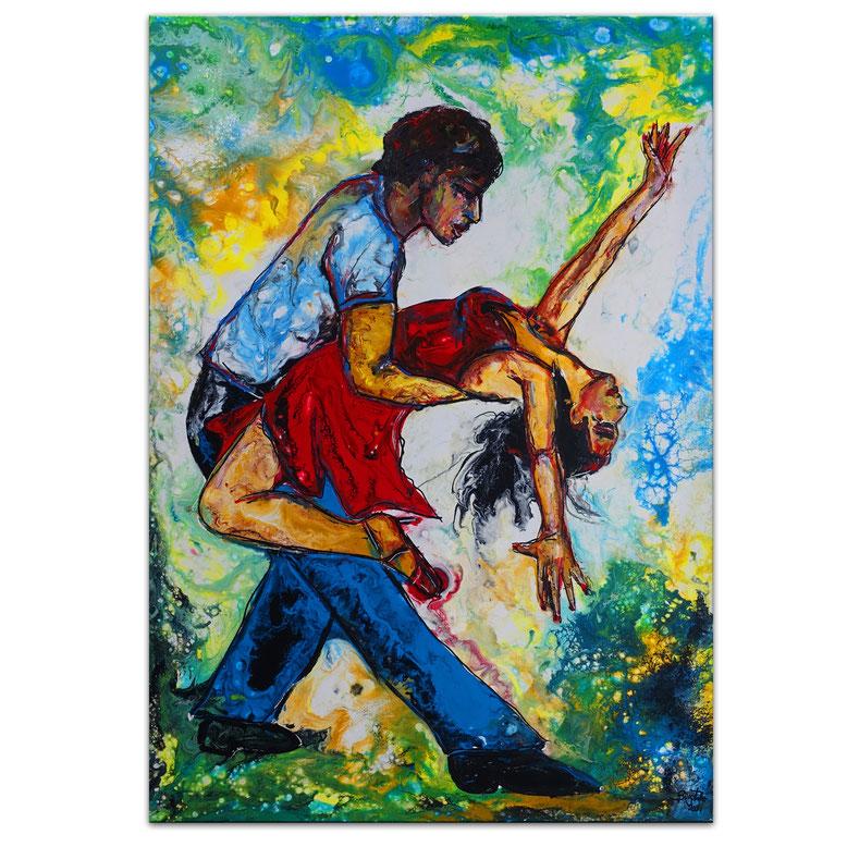 Salsa 5 Wandbild Tänzer Tanzpaar Tänzerin Malerei AcrylBild Künstler Bild