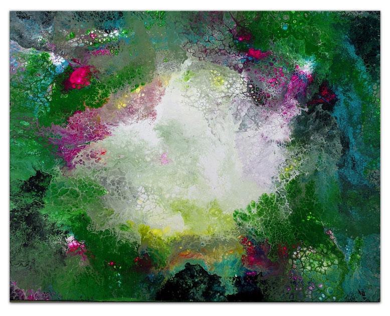 Erwachen Fluid Art Abstraktes Wandbild grün rosa Künstler Bilder handgemalt 92x73