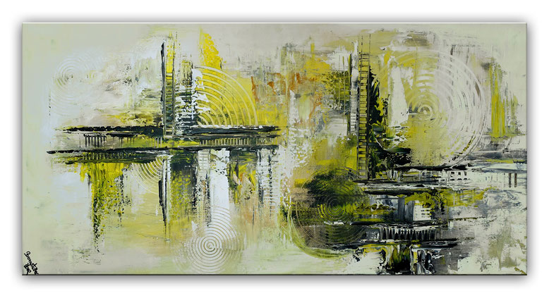 Infinion Abstrakte Malerei Wandbild Kunstbild Gelb grau 50x100