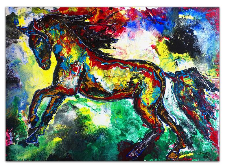 Wandbild Leinwandbild Buntes Pferd Acryl Malerei Pouring Original Gemälde
