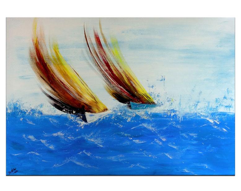 Sturmsegler moderne Kunst Malerei Segelboote abstrakt gemalt Wandbild Regatta