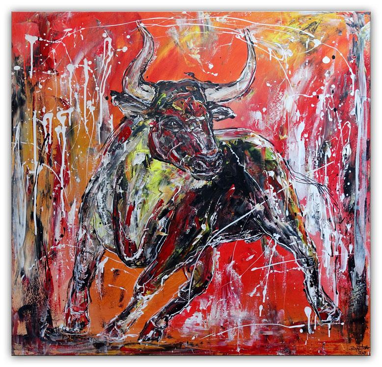 Angriff Wandbild Wilder Stier Bulle bunt Original Acrylbild Gemälde 120x80x2cm