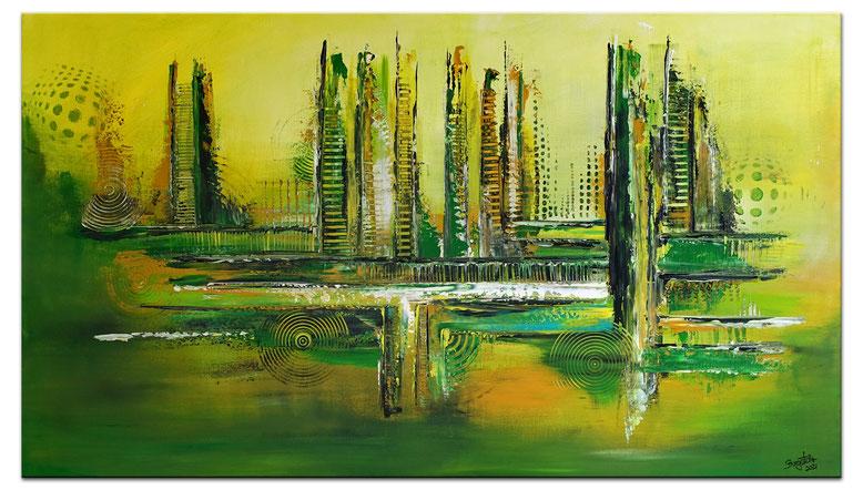 Freshmaker abstraktes Kunst Bild Leinwandbild Wandbild grün grau ocker 100x80
