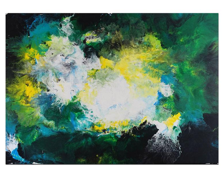 Symbiose abstraktes Wohnzimmerbild grün Bürobilder XXL Kunst Bild Wandbild