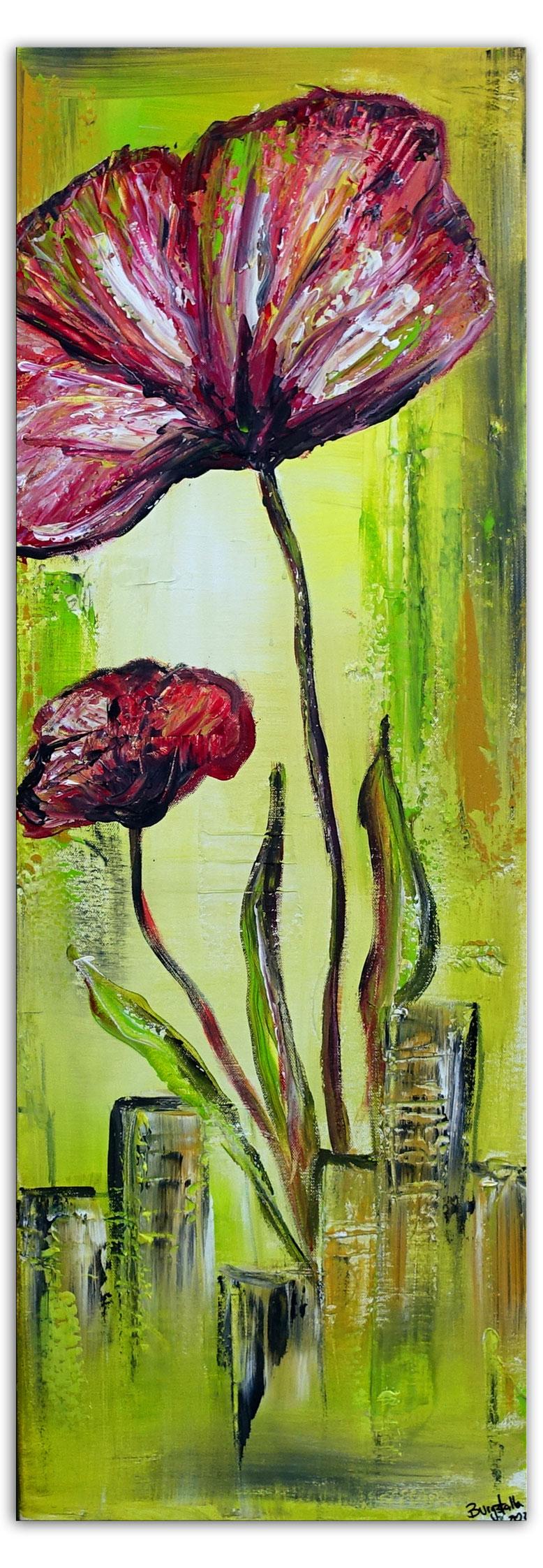 Blütenmeer Blumen Malerei Gemälde Blüten pastell blau ocker rose unikat Acrylbild 70x90
