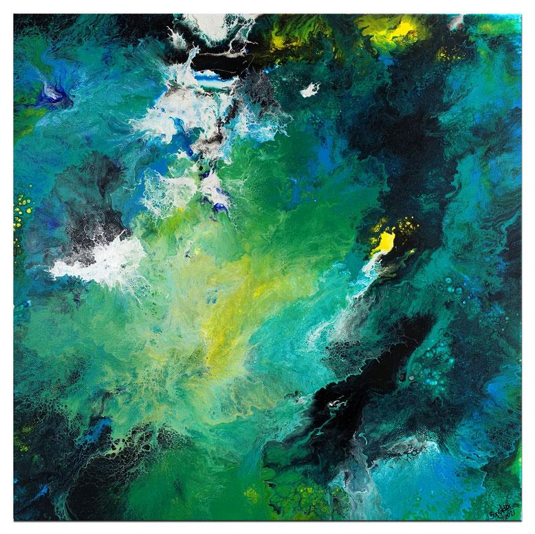 Mirage - Kunst Malerei Abstrakt in Grün Beige Rot - Original Gemälde