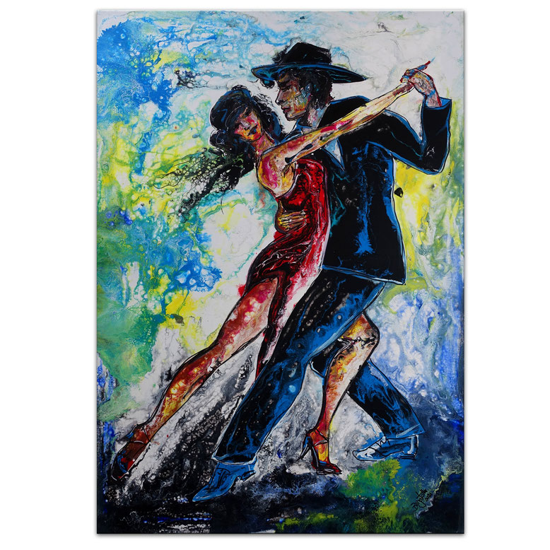 Tango Tänzer Tanzpaar Modernes Leinwandbild Original Acrylgemälde 70x100