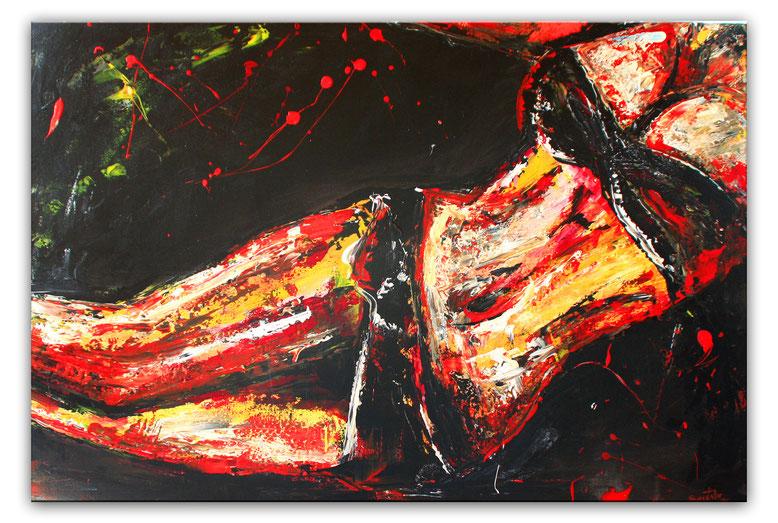 Erotische Malerei Frau - Akt Gemälde Bild rot - Erotik Bild - Erotische Kunst