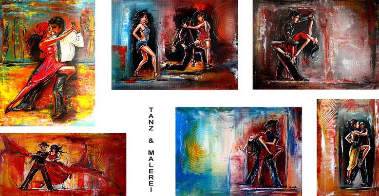 Tanz Bilder Tänzerbilder Tanzmalerei Tänze Tänzer Tanzpaare Gemälde Malerei Kunst Leinwandbild Wandbilder
