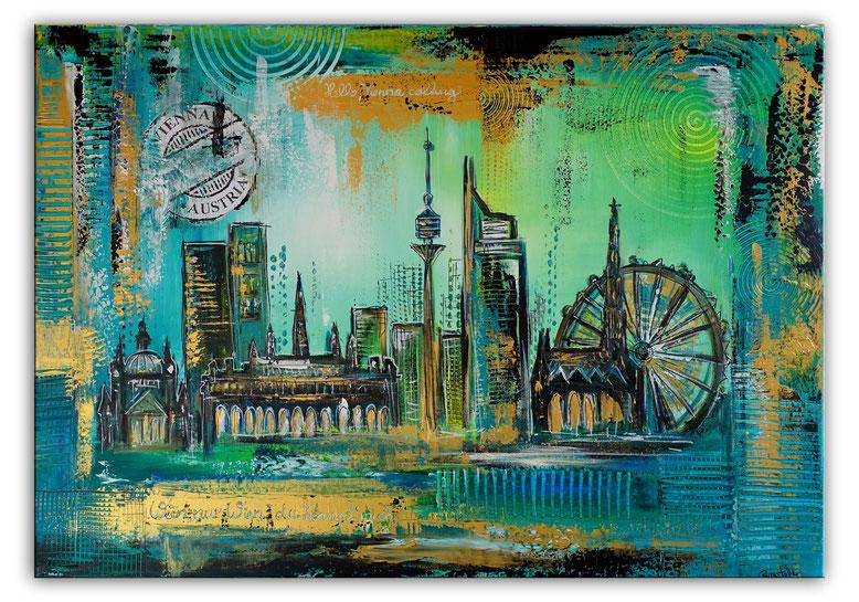 Wien Skyline Stephansdom Prater abstrakt gemalt Acrylgemälde Künstlerbild 70x100
