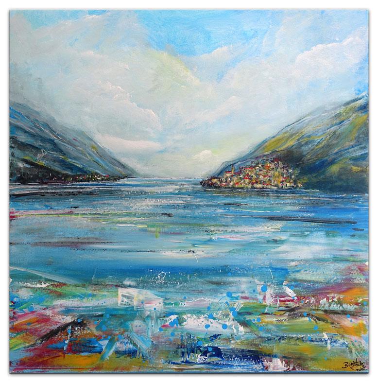 Sonnenuntergang Wandbild XXL Modern Segelboote Sunset Meer Maritim 150x150