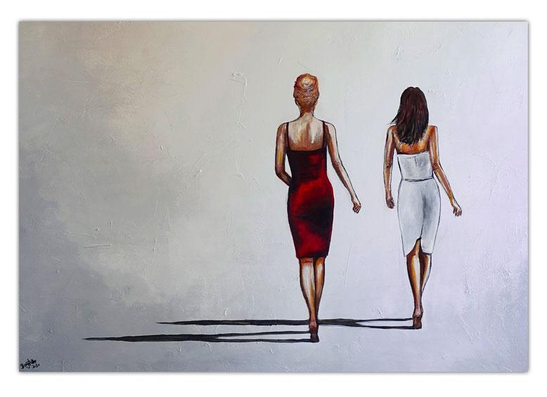 Mona & Lisa Frauen Kleider elegantes Gemälde Wohnzimmer Büro Kunstbild