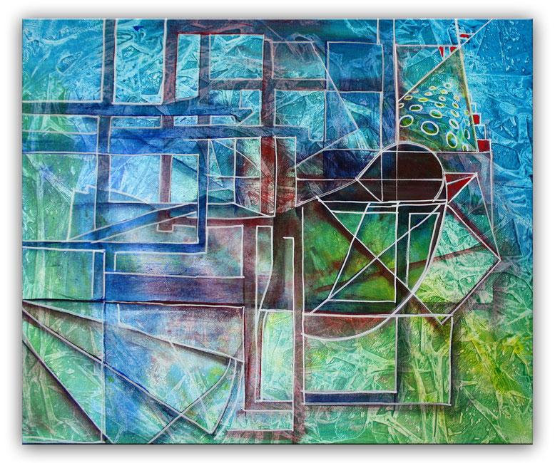 blauer vogel tuerkis mint gruen abstrakte kunst burgstaller. Black Bedroom Furniture Sets. Home Design Ideas